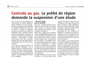 Le Télégramme 10-09-2014 (Page Bretagne)