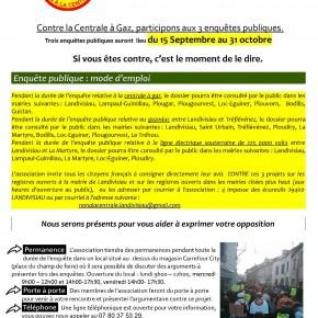 3 enquêtes publiques du 15 septembre 2014 au 31 octobre 2014