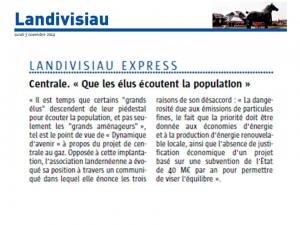 Le Télégramme 3-11-2014 (Page Landivisiau)