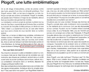 """Editorial 5-02-2015 dans le numéro spécial """"35 ans Plogoff"""" de Ouest France"""