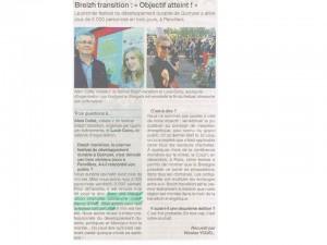 Ouest France 21-09-2015 (Page Quimper)