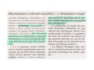 Ouest-France 21-09-2015 (page Quimper)