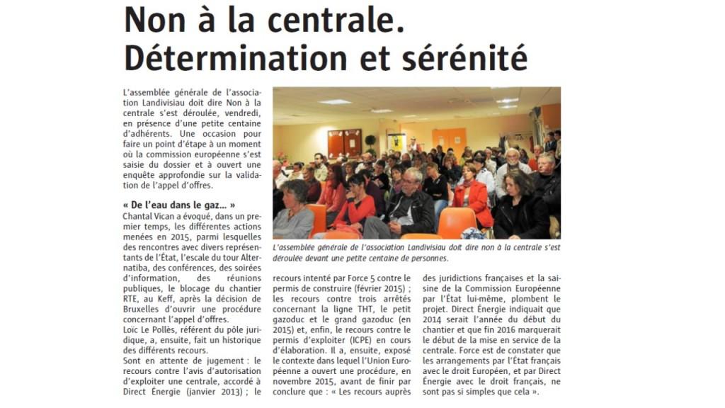 Le Télégramme 27-04-2016 (Page Landivisiau)
