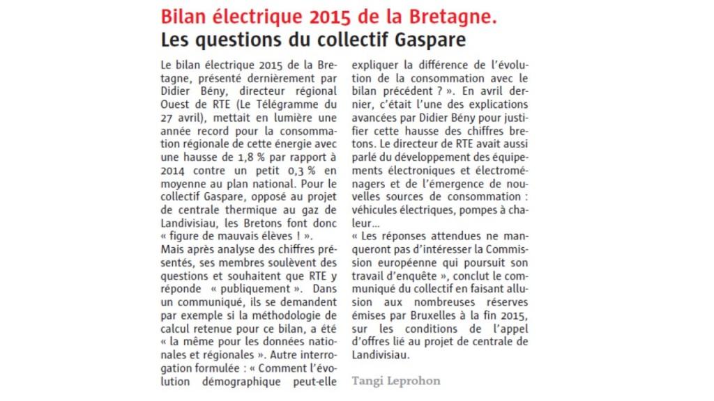 Le Télégramme 25-05-2016 (Page Bretagne)