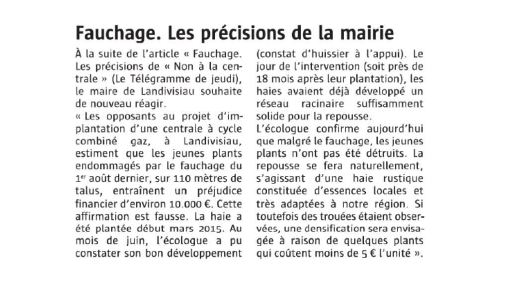 Le Télégramme 17-09-2016 (Page Landivisiau)