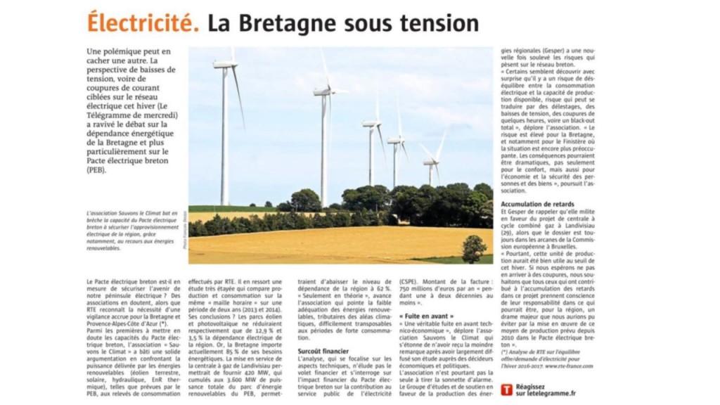 Le Télégramme 12-11-2016 (Page Economie)