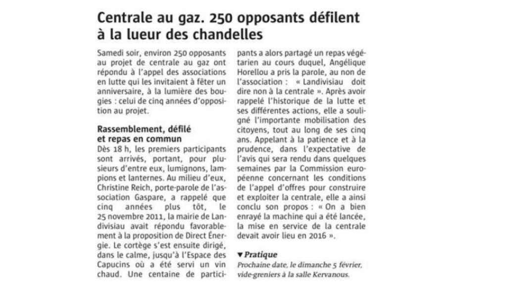 Le Télégramme 28-11-2016 (Page Landivisiau)