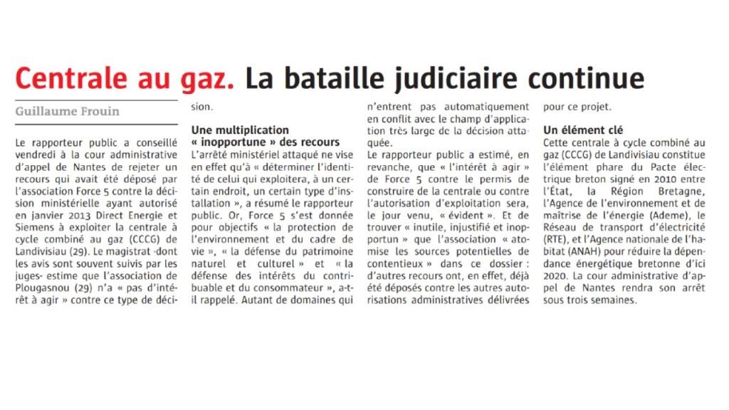 Le Télégramme 04 mai 2017 (Page Bretagne)