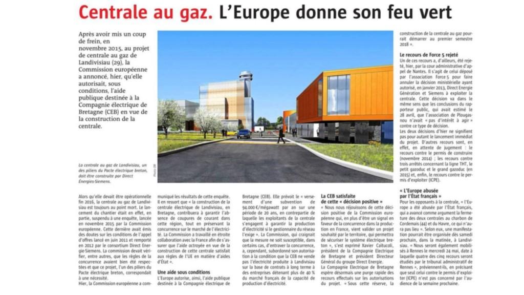 Le Télégramme 16/05/2017 (Page Bretagne)