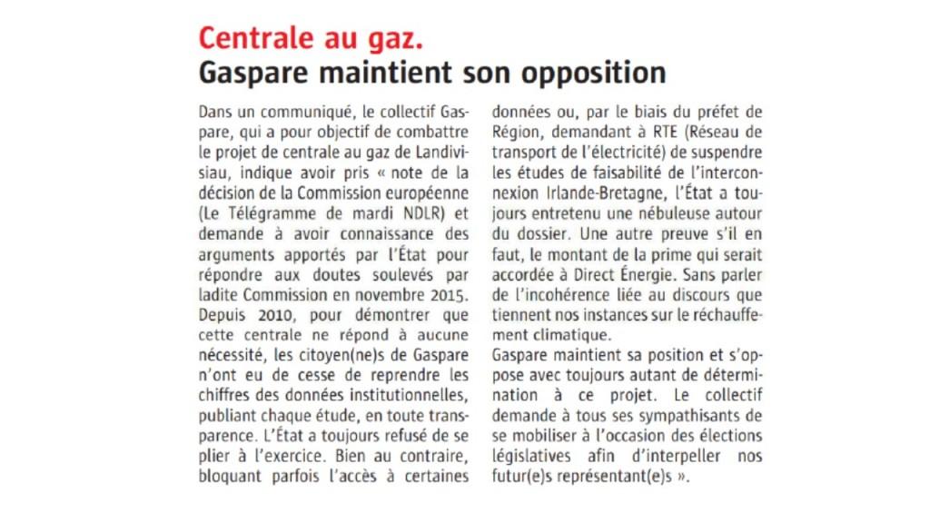 Le Télégramme 18-05-2017 (Page Bretagne)