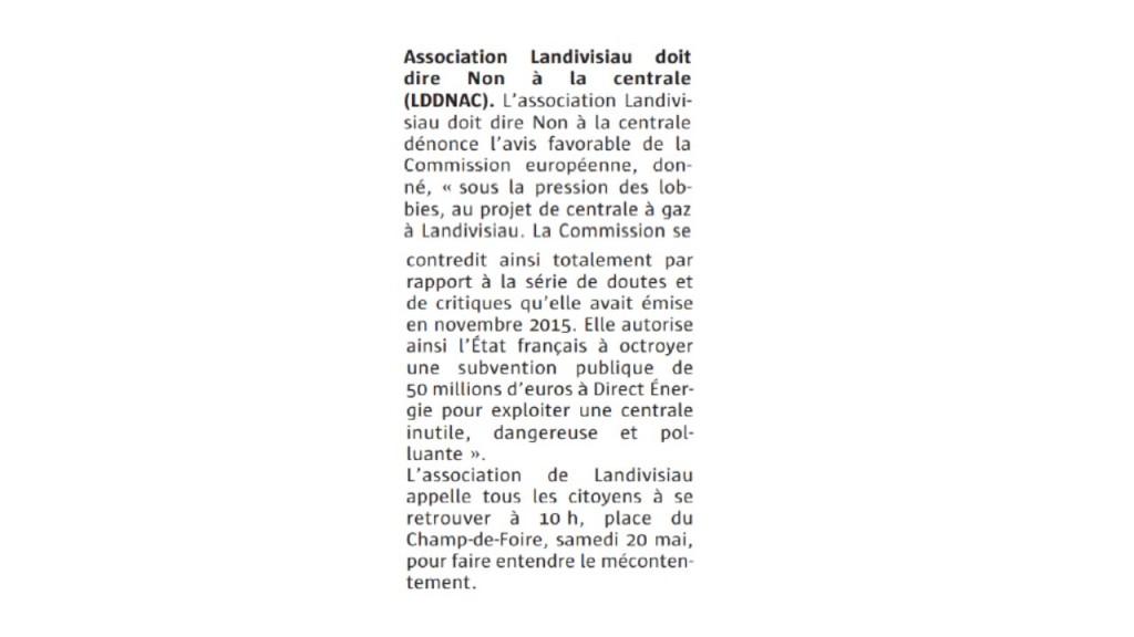 Le Télégramme 17-05-2017 (Page Landivisiau)