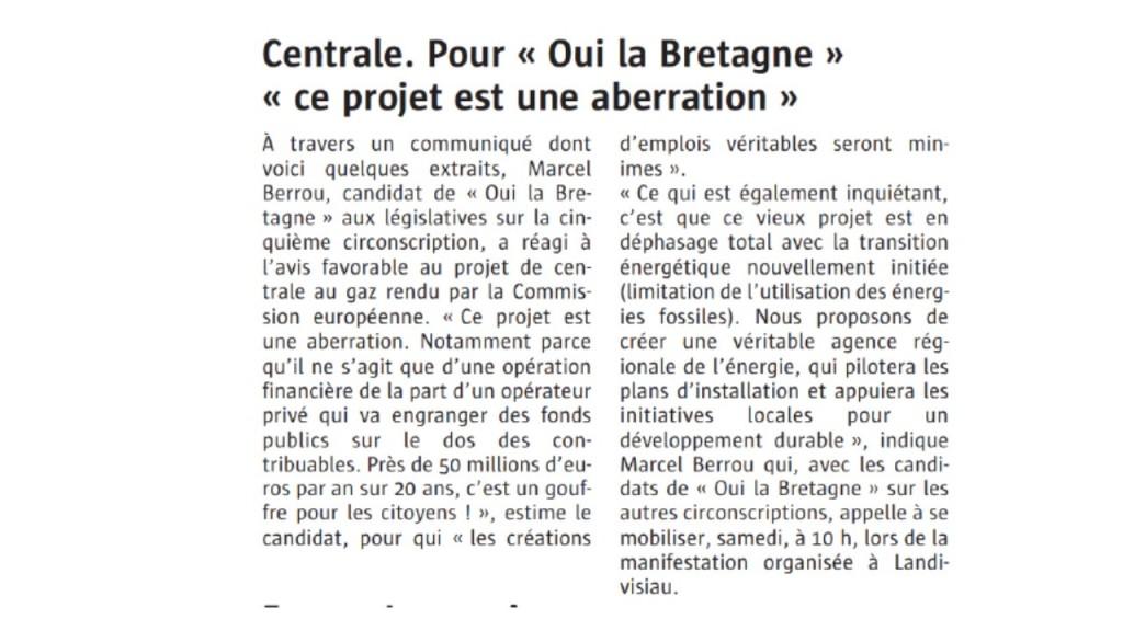Le Télégramme 18-05-2017 (Page Landivisiau)