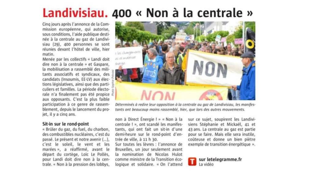 Le Télégramme 21-05-2017 (Page Bretagne)