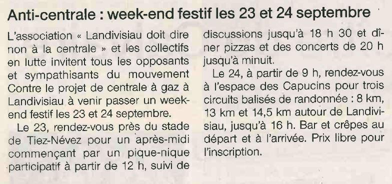 Ouest France 16-09-2017 (Page Landivisiau)