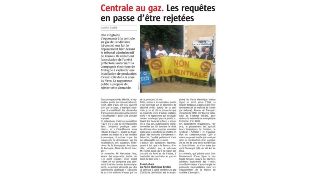 Le Télégramme 30-09-2017 (Page Bretagne)