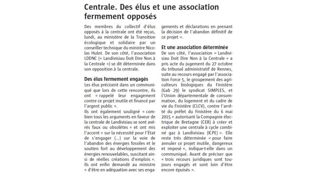Le Télégramme 28-10-2017 (Page Landivisiau)
