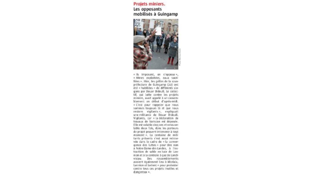 Le Télégramme 19-11-2017 (Page Bretagne)