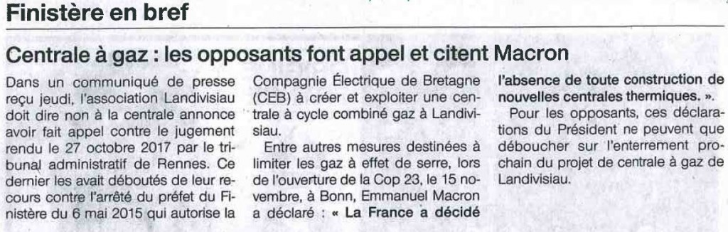 Ouest France 22-12-2017 (Page Finistère)