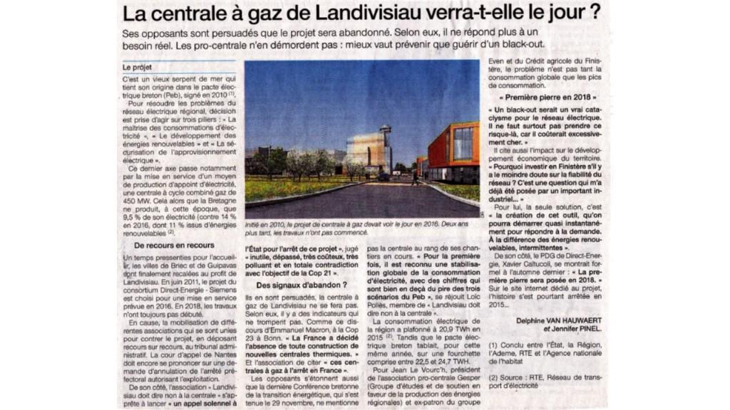 Ouest France 08/01/2018 (Page Bretagne, Finistère)