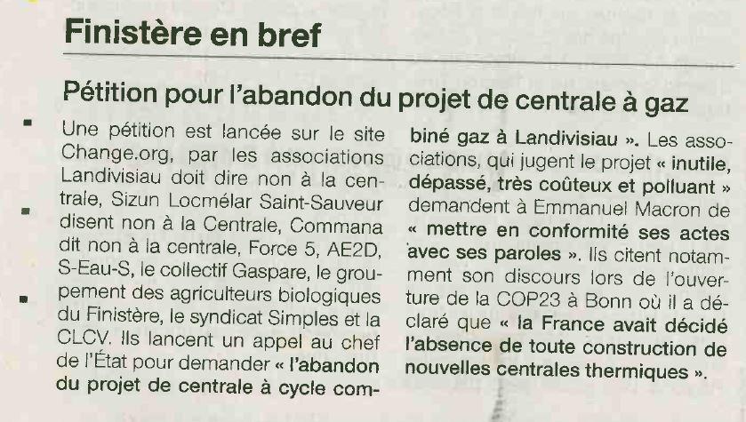 Ouest France 24-01-2018 (Page Bretagne-Finistère)