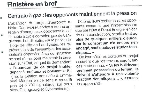 Ouest France 30-01-2018 (Page Finistère)