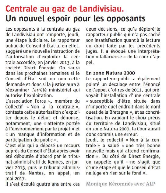 Le Télégramme 09-03-2018 (Page Bretagne)