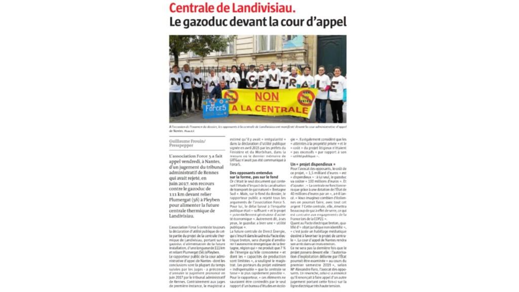 Le Télégramme 10-11-2018 (Page Bretagne)