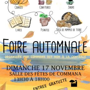 Foire d'Automne le 17 novembre 2019 à Commana- Salle des fêtes à partir de 13h30.