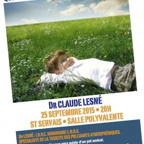 """Conférence """"Santé Environnement""""  le vendredi 25 septembre"""