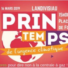 Première Marche pour le Climat à Landivisiau ce 16 mars 2019 ! Une très belle mobilisation de plus de 1800 citoyens.nes POUR le Climat et CONTRE la Centrale à gaz ! Merci à toutes et tous !! Ne lâchons rien !