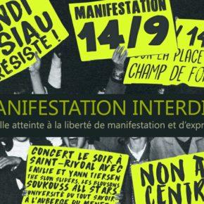 Samedi 14 septembre 2019 MANIFESTATION INTERDITE  ! Textes à lire ici.
